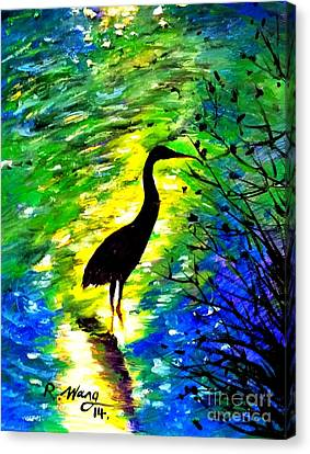Crane In Lake Canvas Print by Rose Wang