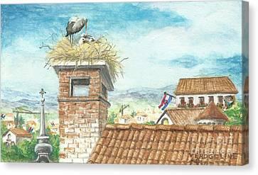Cranes In Croatia Canvas Print by Christina Verdgeline