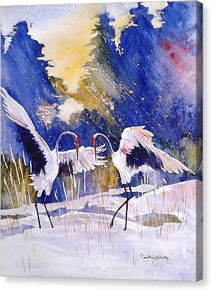 Cranes In Winter Inspired By Quan Zhen Canvas Print