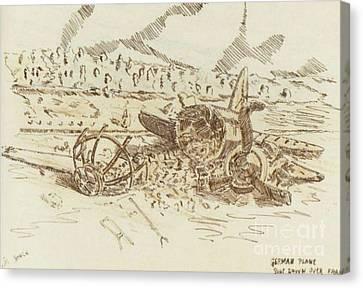 Ww Ii Canvas Print - Crashed German Plane by David Neace