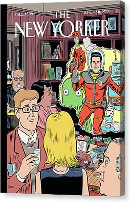 Crashing The Gate - Man In A Spacesuit Crashes Canvas Print by Dan Clowes