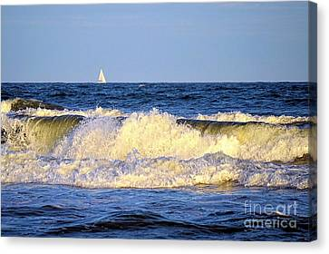 Crashing Waves And White Sails Canvas Print