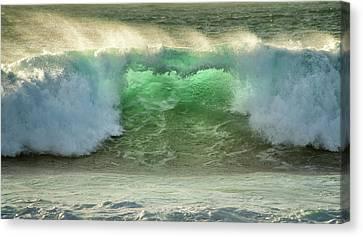 Crashing Waves, Carmel, Ca, Usa, Green Canvas Print