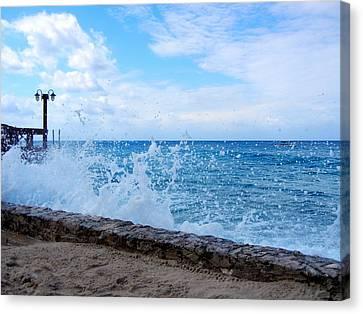 Crashing Waves In Cozumel Canvas Print by Debra Martz