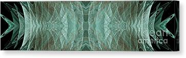 Crashing Waves Of Green 1 - Panorama - Abstract - Fractal Art Canvas Print by Andee Design