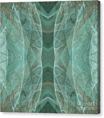 Crashing Waves Of Green 4 - Square - Abstract - Fractal Art Canvas Print by Andee Design
