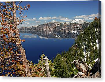 Crater Lake From The Rim, Crater Lake Canvas Print by Michel Hersen