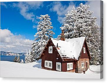 Crater Lake Home - Crater Lake Covered In Snow In The Winter. Canvas Print by Jamie Pham