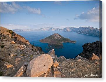 Crater Lake In The Evening Canvas Print