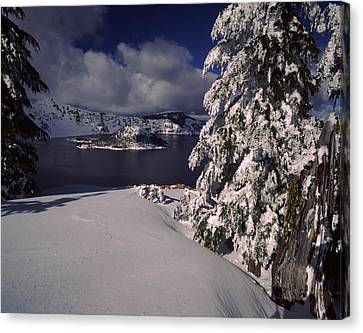 Wizard Island Canvas Print - Crater Lake In Winter, Wizard Island by Panoramic Images