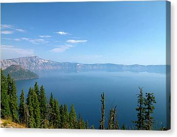 Crater Lake Shrouded In Smoke Canvas Print by David R. Frazier