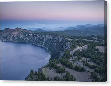 Crater Lake Sunset Canvas Print by Melany Sarafis