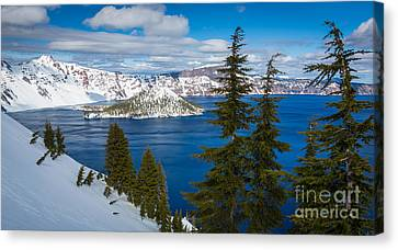 Wizard Island Canvas Print - Crater Lake Winter Panorama by Inge Johnsson