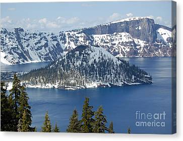 Canvas Print featuring the photograph Crater Lake With Snow by Debra Thompson