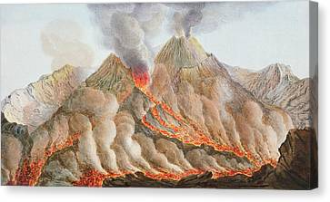 Lava Flow Canvas Print - Crater Of Mount Vesuvius From An by Pietro Fabris