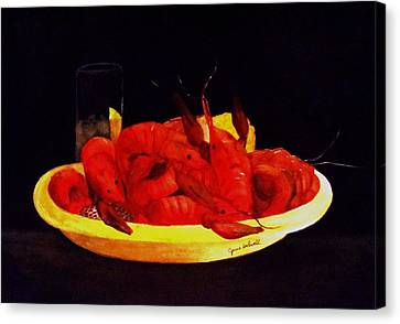 Crawfish Small Portion Canvas Print by June Holwell