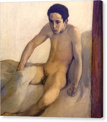 Crawling Out Of Bed #naked #nude #boy Canvas Print by Dimitre Mihaylov