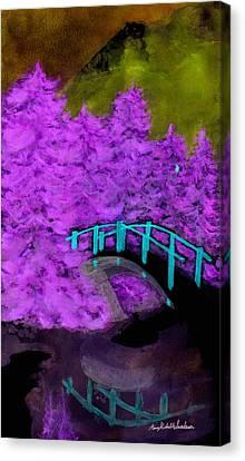Crazy Exposure Bridge Over Frozen Water Canvas Print by Ann Michelle Swadener