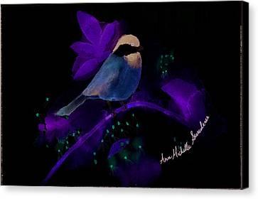 Crazy Exposure Chickadee Canvas Print by Ann Michelle Swadener