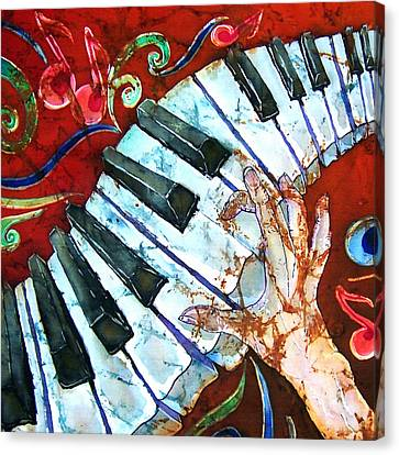 Crazy Fingers Piano Square Canvas Print by Sue Duda