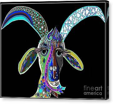 Crazy Goat On Black  Canvas Print by Eloise Schneider