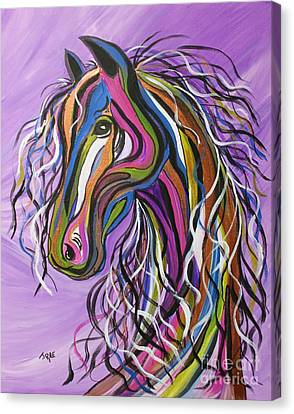 Canvas Print featuring the painting Crazy Horse by Janice Rae Pariza