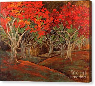Canvas Print featuring the painting Crazy Orange Trees by Vic  Mastis