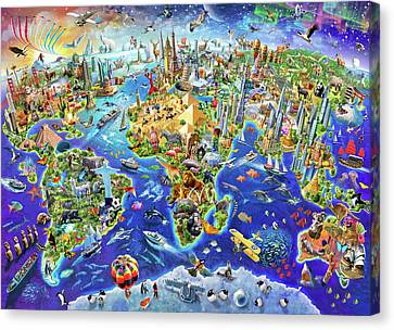 World Map Canvas Print - Crazy World by Adrian Chesterman