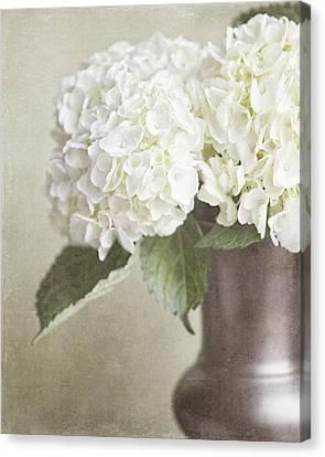 Cream Hydrangea In A Bronze Vase Still Life Canvas Print by Lisa Russo
