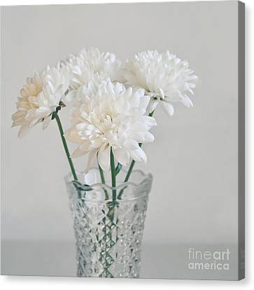 Creamy White Flowers In Tall Vase Canvas Print by Lyn Randle
