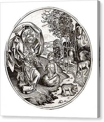 The Creation Of Adam Canvas Print - Creation Of Adam From Clay, 15th Century by Science Photo Library