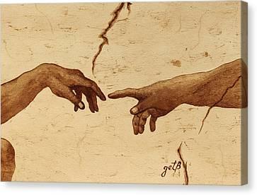 Creation Of Adam Hands A Study Coffee Painting Canvas Print by Georgeta  Blanaru