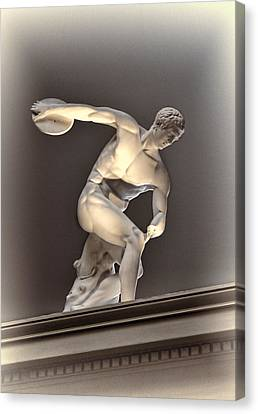 Creative Sculpture Of Olympic Athlete Canvas Print by Linda Phelps