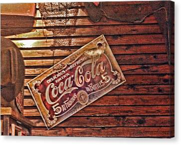 Creative Vintage Coca Cola Sign Canvas Print by Linda Phelps