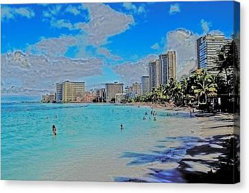 Canvas Print featuring the photograph Creative Waikiki by Caroline Stella