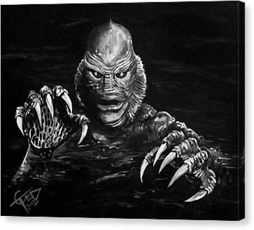 Horror Movies Canvas Print - Creature by Tom Carlton