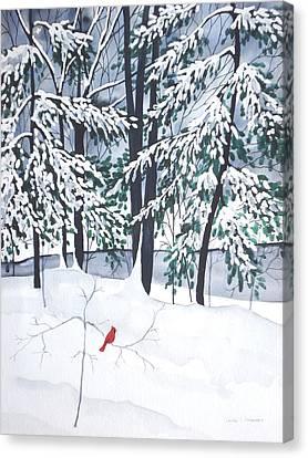 Creek And Cardinal - Mill Creek Park Canvas Print