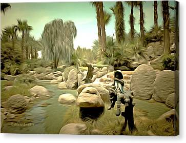 Creek At Jackalope Ranch Palm Springs Canvas Print by Barbara Snyder