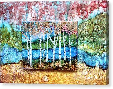 Creek Birches Canvas Print by Alene Sirott-Cope