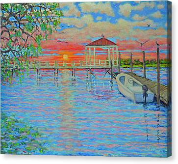Creek Club Docks At Sunset Canvas Print by Dwain Ray