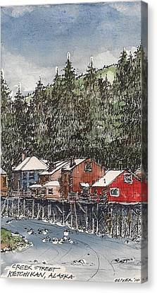 Canvas Print featuring the mixed media Creek Street In Ketchikan by Tim Oliver
