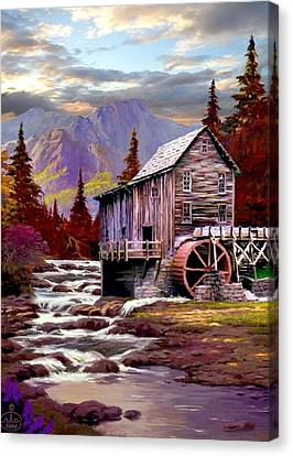 Creekside Mill Canvas Print by Ron Chambers