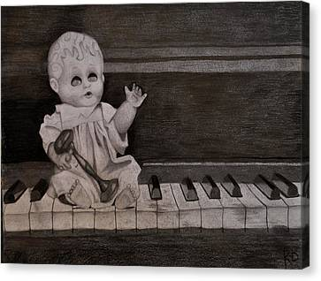 Creepy Doll Sitting On Dirty Piano Canvas Print by Katie Barrett
