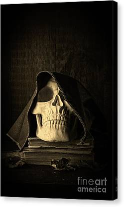 Creepy Hooded Skull Canvas Print by Edward Fielding