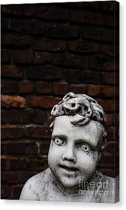Marble Eyes Canvas Print - Creepy Marble Boy Garden Statue by Edward Fielding