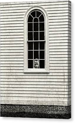 Creepy Victorian Girl Looking Out Window Canvas Print by Edward Fielding