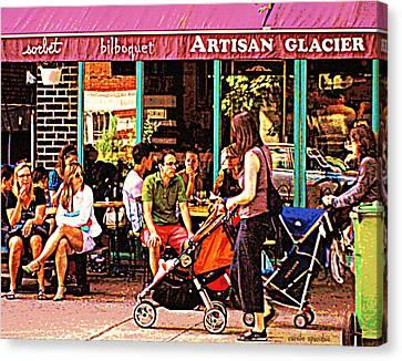 Creme Glacier Bilboquet Rue Bernard French Sidewalk Cafe Scene Montreal Art Work  Carole Spandau  Canvas Print by Carole Spandau