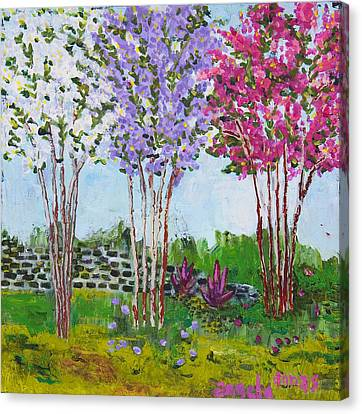 Crepe Myrtles Canvas Print by Angela Annas