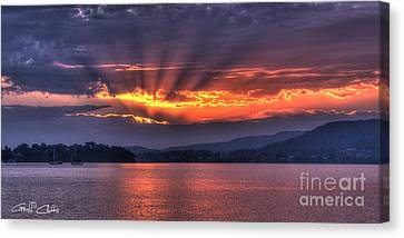 Crepuscular Dawn - Smoky Sunrise. Canvas Print by Geoff Childs
