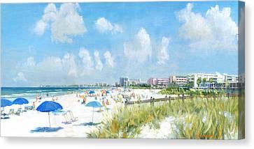 Gulf Canvas Print - Crescent Beach On Siesta Key by Shawn McLoughlin